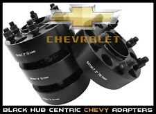"4 CHEVY 6x5.5 BLACK HUB CENTRIC 2"" THICK WHEEL SPACERS ADAPTERS 78.1 HUB BORE"