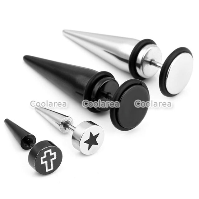 4 Pair Mens Steel Fake 0G 00G Cheater Tapers Spike Illusion Ear Studs Earring