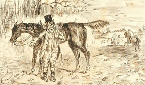 1866 Pen and Ink Drawing - The Best Run of the Season
