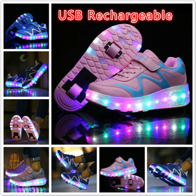 official photos 93e2d f95ae Kids Led Light Up Roller Skates Shoes Girls Double Wheels Sneakers Sport  Shoes