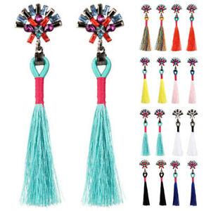 Women-Bohemian-Boho-Rhinestone-Long-Tassel-Fringe-Dangle-Drop-Earrings-Fashion