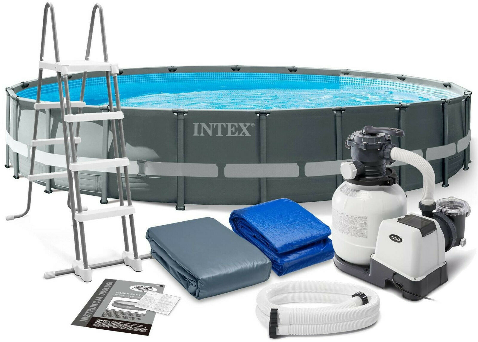Intex 26334 610 x 122cm Round Above Ground Pool Ultra Xtr Frame Sand Filter Pump