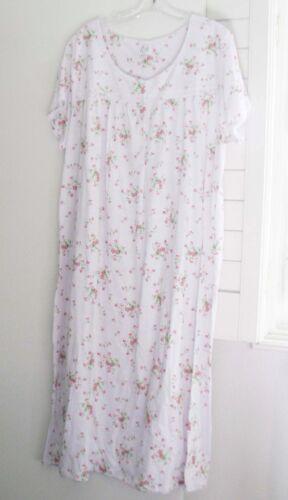 Aria Womens White Ditsy Short Sleeve Nightgown A28117805 Sz L NWT