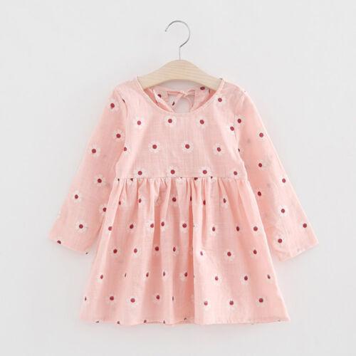 Kids Toddler Baby Girl Long Sleeve Floral Bowknot Party Xmas Princess Tutu Dress