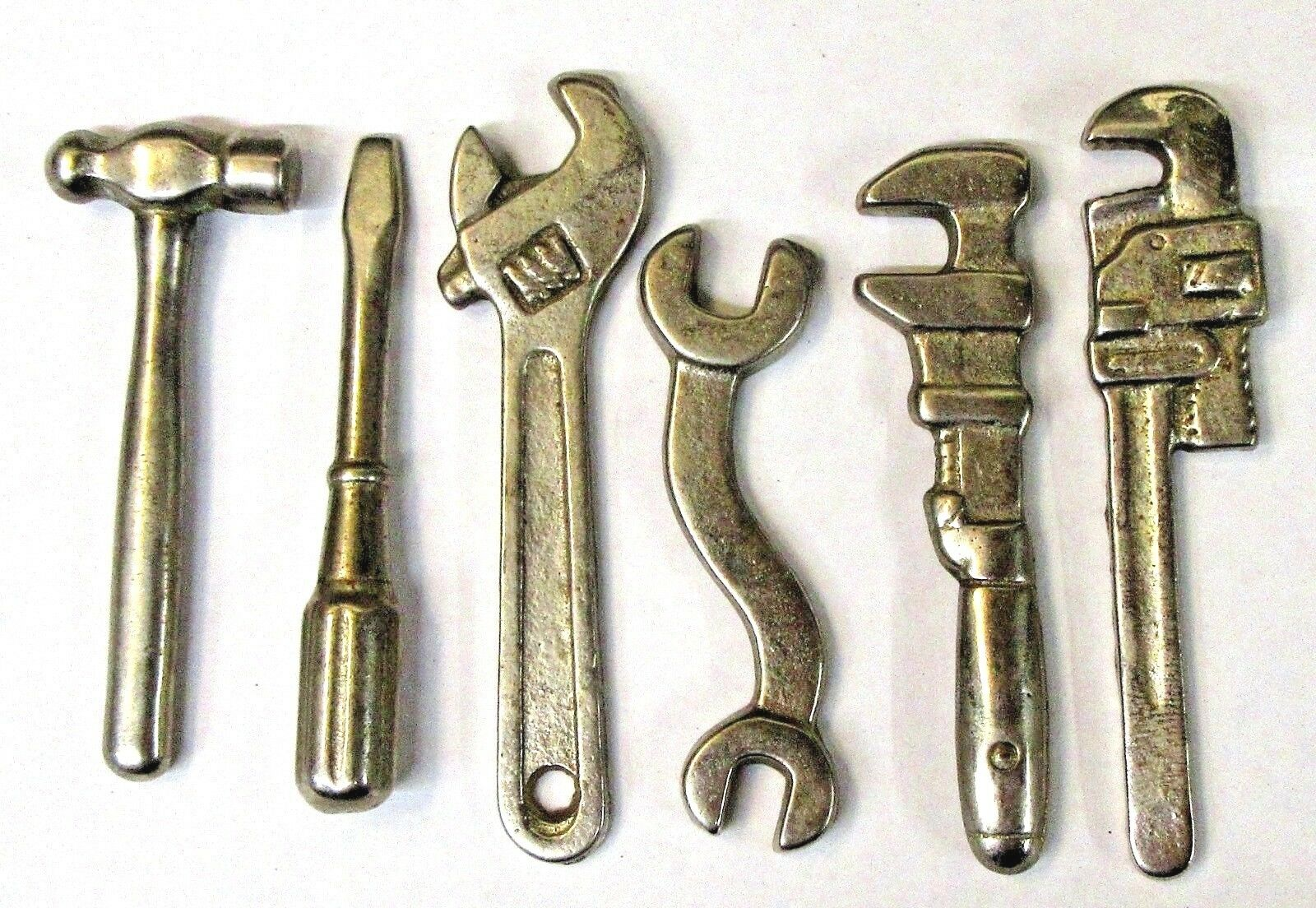 Conjunto de 6 herramientas de hierro fundido niquelado Arcade Menta década de 1920 Vintage