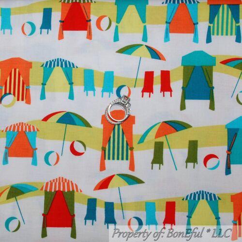 BonEful FABRIC FQ Cotton Quilt Ocean Sea Beach Boy Girl Tent Surf Island Scenic