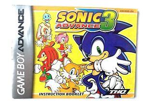 Sonic Advance 3 NINTENDO GAMEBOY GBA Instruction Booklet Manual Book Original