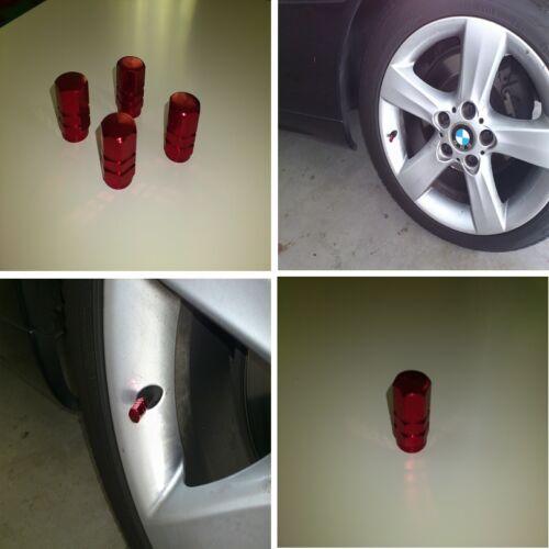 Aluminum 4 Pcs Red Tire Valve Stem Cap Covers Bicycle Auto Car