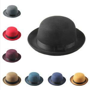 15c12ad6b7b Retro Hard Felt Women Men Fold Brim Billycock Round Top Crown Bowler ...