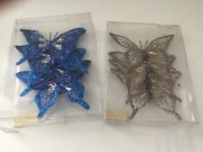 Butterfly Clip Decoration Home/decor Blue & sliver 8 X Butterfly Handmade BN