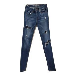 AMERICAN EAGLE Women Jegging SuperSuper Stretch Jeans Sz0 Distressed29'Inseam