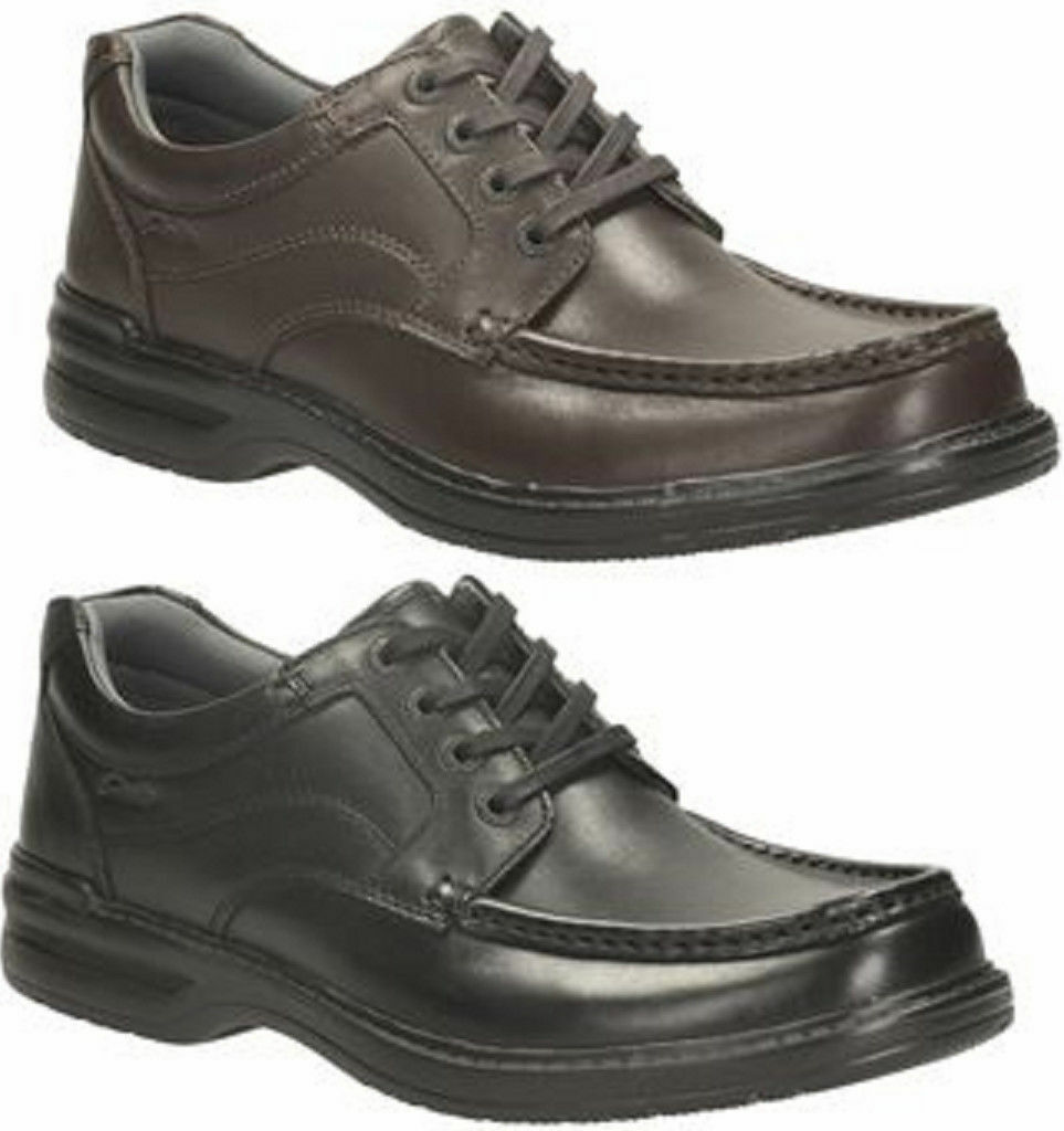 Mens Clarks Black/Brown Leather Lace Up Shoes H Fitting  Keeler Walk