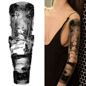 river forest stag warrior tiger king temporary tattoo arm sleeve realistic ebay. Black Bedroom Furniture Sets. Home Design Ideas