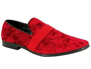 Men-039-s-Smart-Velvet-Loafers-Casual-Designer-Driving-Slip-On-Shoes-Black-amp-Red