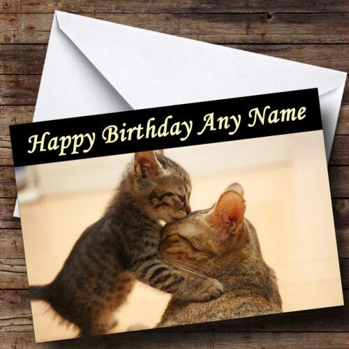 Kitten Kissing Mum Cat Personalised Birthday Greetings Card