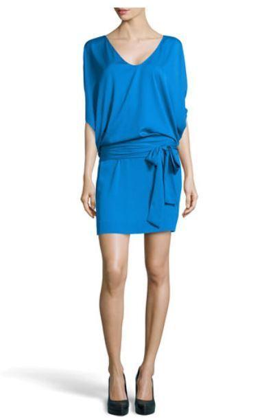 400 DIANE VON FURSTENBERG Edna Stretch Bleu Robe 6 8 vraiHommest superbe