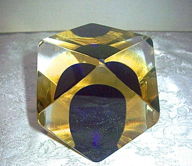 Signed MANDRUZZATO Murano Sommerso FACETED Art Glass Paperweight -  DESIGN GUILD
