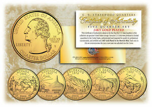 2006-US-Statehood-Quarters-24K-GOLD-PLATED-5-Coin-Complete-Set-w-Capsules