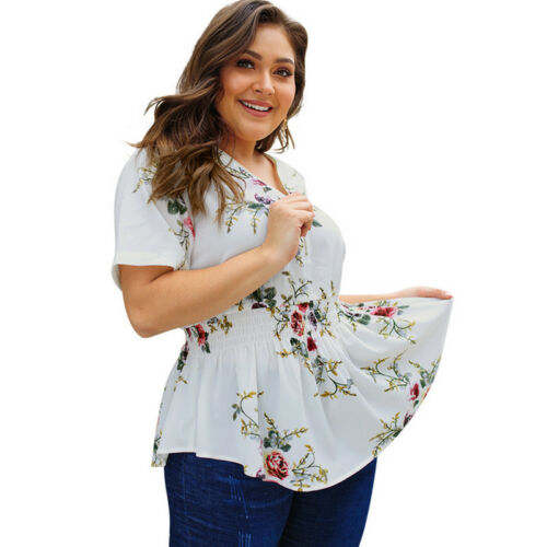 Womens Plus Size Floral Short Sleeve T-Shirts V Neck Loose Blouse Casual Tops
