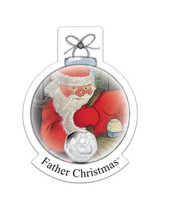 2020 Father Christmas Colored Sterling Silver 50 Pence coin 50p only 950 minted!