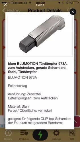 blum BLUMOTION Türdämpfer 973A,zum Aufstecken,gerade Scharniere,Türdämpfer 2Stk.