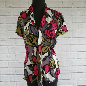 Trina Turk Womens 6 Silk Short Sleeve Button Up Blouse Floral
