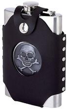 Skull & Crossbones 8 oz Stainless Steel Alcohol Flask Screw Cap Pocket Liquor