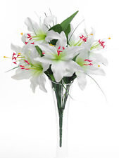 Artificial Cream Tiger Lily Bush - 45 cm - 6 Flowers - Spring and Summer Flower