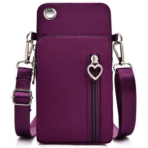 With Headphone Hole Three Zipper Phone Bag Diagonal Coin Purse Tote Portable N7