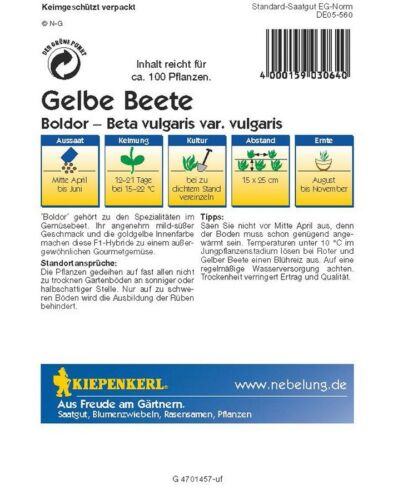Kiepenkerl Gelbe Rote Beete Boldor F1,1 Portion