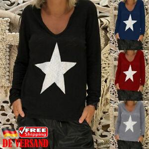 Damen-Langarm-Pullover-Pulli-Stern-Printed-Sweatshirt-Oberteile-Freizeit-Blusen