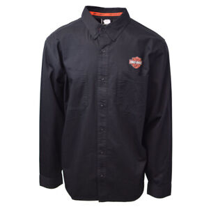 Harley-Davidson-Men-039-s-Black-Logo-Patch-L-S-Woven-Shirt-S02