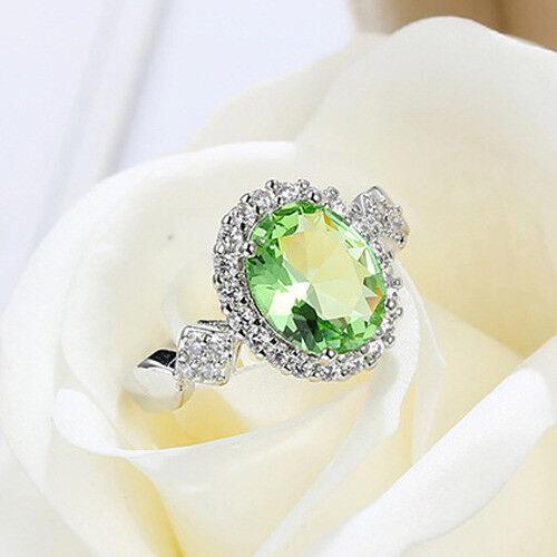 Holiday Oval Cut Shaped Hamdade Green Peridot Gemstone Silver Ring  Size 6-10