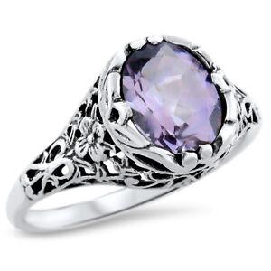 Jewels House Brazilian Amethyst Oval Gemstone Silver Plated Handmade Blue Stone Filigree Ring US-8.5