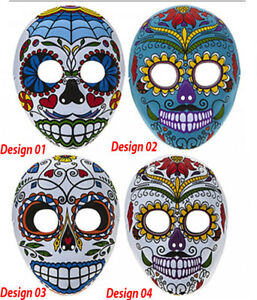 Halloween Day Of The Dead Full Face Moulded Felt Mask Great 4