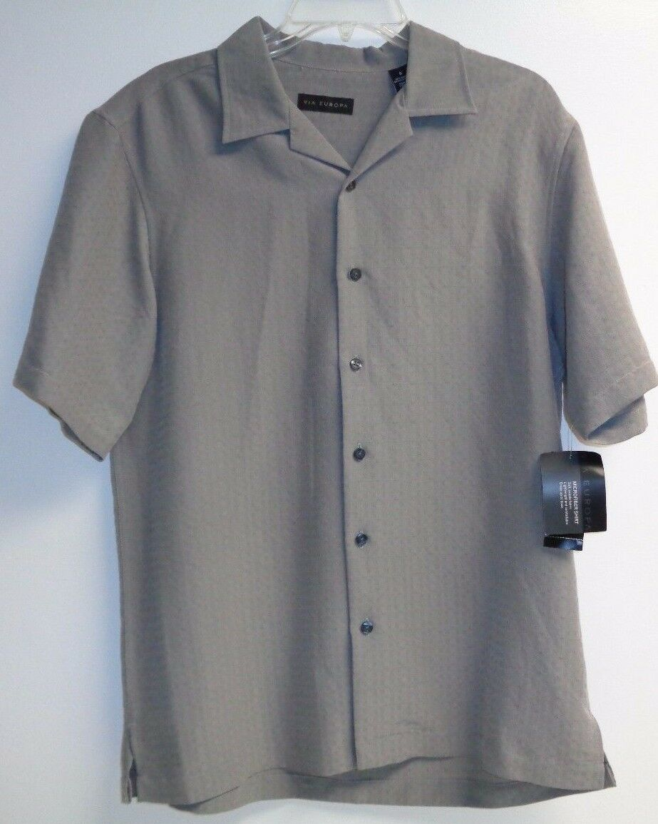 Via Europa Size Small Textured Marsh Short Sleeve Button Shirt New Mens Clothing
