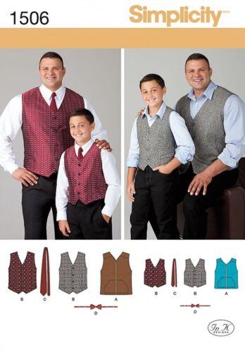 Gratuit UK p/&p Simplicité Homme /& Garçons sewing pattern 1506 gilets,...