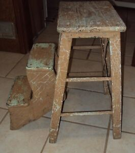Vintage 23 5 Two Step Small Wooden Step Stool Flip Up Ladder Ebay