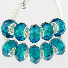 Crystal Peacock blue 5pcs MURANO glass bead LAMPWORK fit European Charm Bracelet