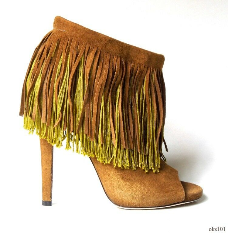 new $1095 JIMMY CHOO 'Damita' olive suede FRINGE open-toe ankle BOOTS 37.5 7.5
