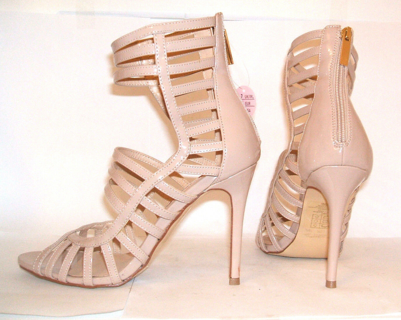 BNWOB SIZE 7  NUDE PATENT HIGH HEEL SEXY CAGED ANKLE CUFF STRAP SHOES SANDALS