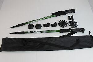 Two Trekking Walking Hiking Sticks Poles Alpenstock anti-shock Snowshoe Green