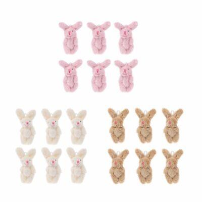 "6PCS 2/"" Mini Rabbit Pendant Plush Bunny For Key Chain Kids Toy Doll DIY Gift"