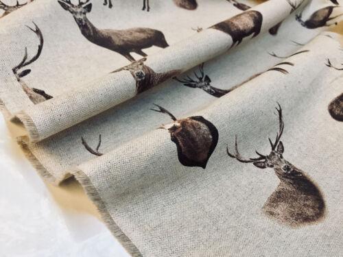 Vorhang Baumwolle Material Weihnachten Elch Hirsch Kopf Stoff 140cm Breit
