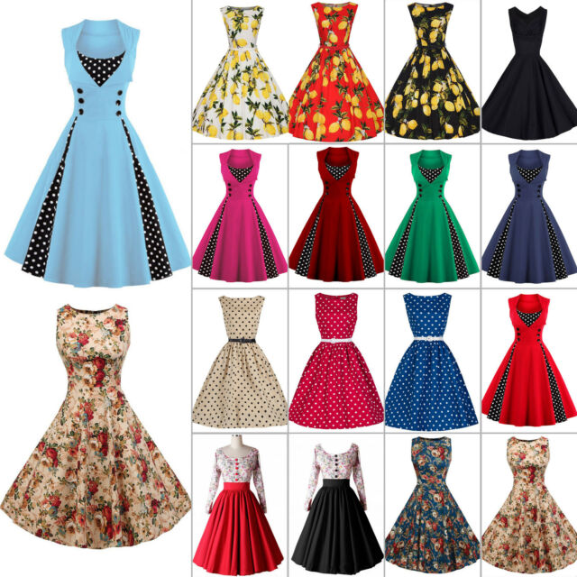 Womens 50s 60s Vintage Rockabilly Pinup Swing Floral Party Formal Dress Skirts