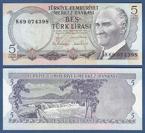 UNC TURKEY 5 LIRA 1970 SERIAL P.185 G 1976