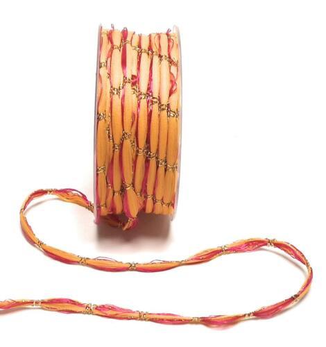 1m//0, 06 € joyas cordel 50m x 8mm naranja Pink oro zierkordel weihnachtskordel