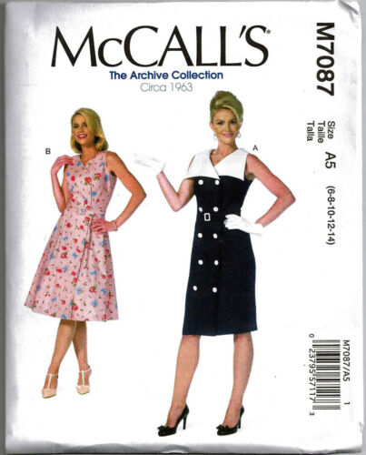 McCALL/'S M7087 Misses Archive Collection 1963 Dresses /& Belt Sewing Pattern