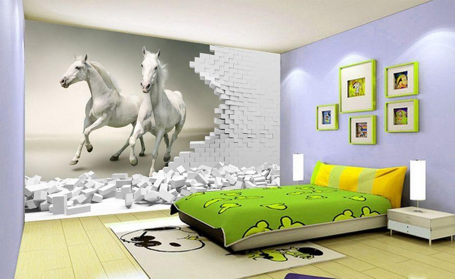 3D Die weißen pferde laufen 3 Fototapeten Wandbild Fototapete BildTapete Familie