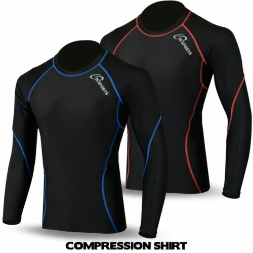 Mens Compression Shirt Base Layer Top Full Sleeve Thermal Body Armour Cold Wear